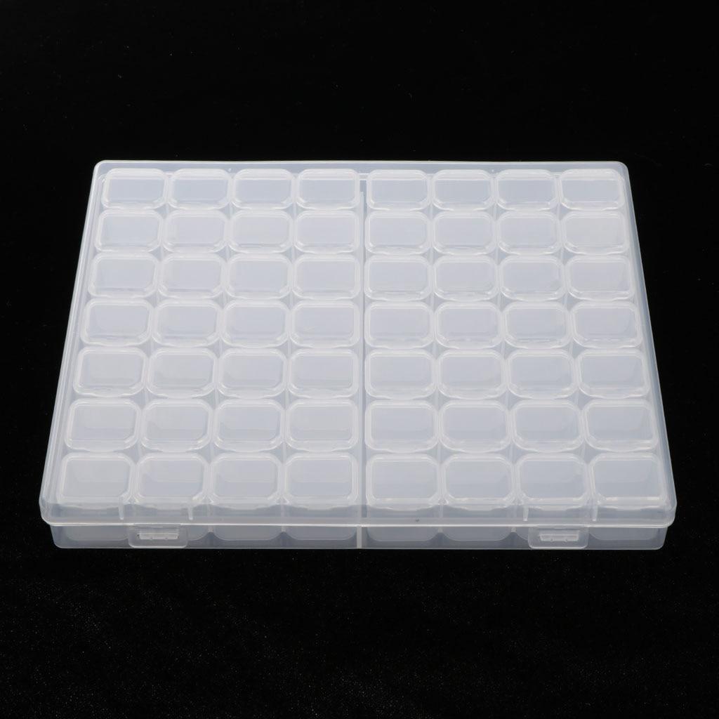 Пластиковая симпатичная прозрачная коробка для хранения с 56 сетками, ювелирное изделие для дизайна ногтей, бусинки для таблеток, мини-Чехол, ювелирный дисплей-2