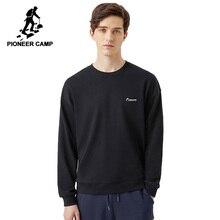 Pioneer kampı 2020 yeni streetwear Hoodies erkekler bahar moda siyah turuncu mavi düz renk gevşek tişörtü erkekler AWY0108009