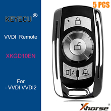 KEYECU 5 أجزاء/وحدة ، XHORSE النسخة الإنجليزية XKGD10EN لباب المرآب سلك العالمي مفتاح بعيد 4 أزرار ل VVDI مفتاح أداة