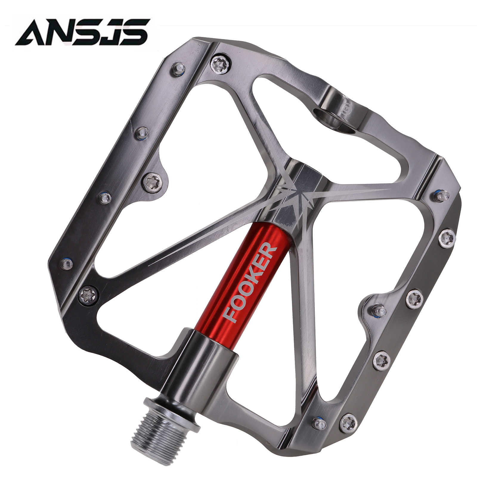 FOOKER Mountain Bike Pedals Non-Slip Bike Pedals Platform Bicycle Flat Alloy Pedals 9//16 Needle Roller Bearing