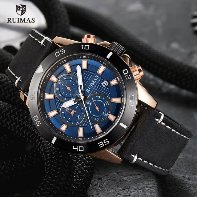 RUIMAS Watches Luxury Leather Strap 572