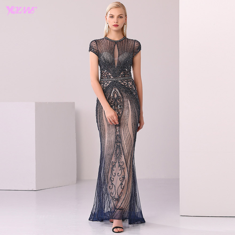 Prom-Dresses Mermaid Crystal Evening-Gown Long Nude Cap-Sleeve Luxury