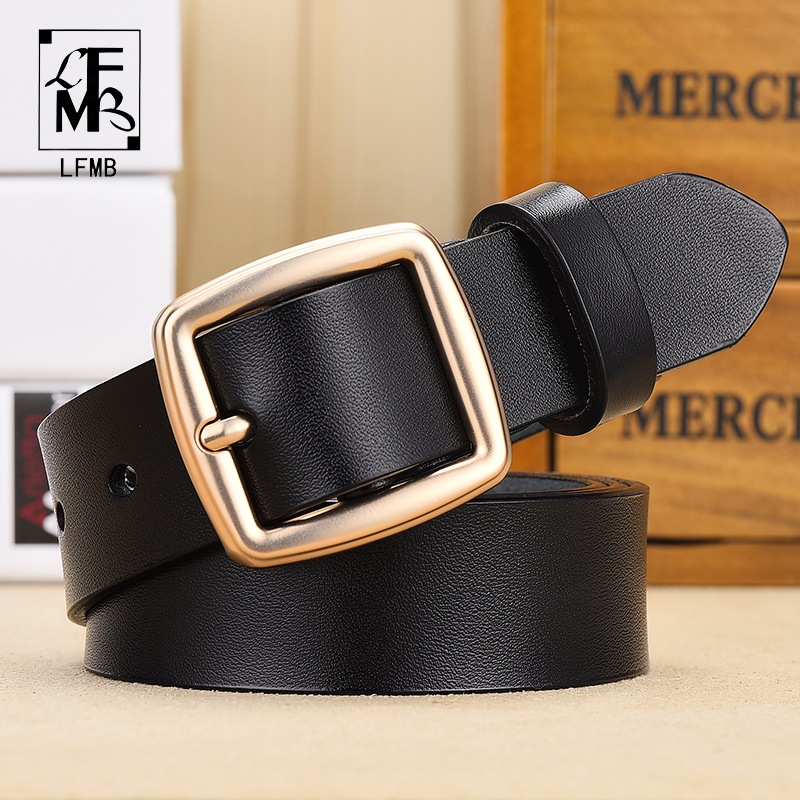 [LFMB]female Deduction Side Gold Buckle Jeans Wild Belts For Women Fashion Students Simple New  Pin Buckles Belt