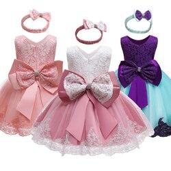 1 год, платье для новорожденных девочек, одежда с большим бантом, официальное платье для девочек на день рождения, платье для крещения, плать...