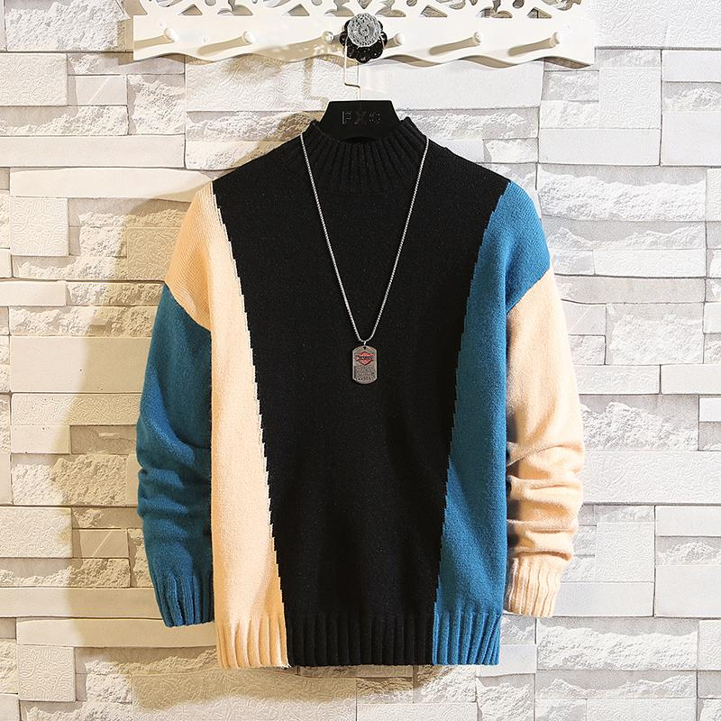 New O-Neck Contrast Color Pullover Mens Sweaters For 2019 Hip Hop Knitted Half Turtleneck Sweater Men Plus Size M-7XL