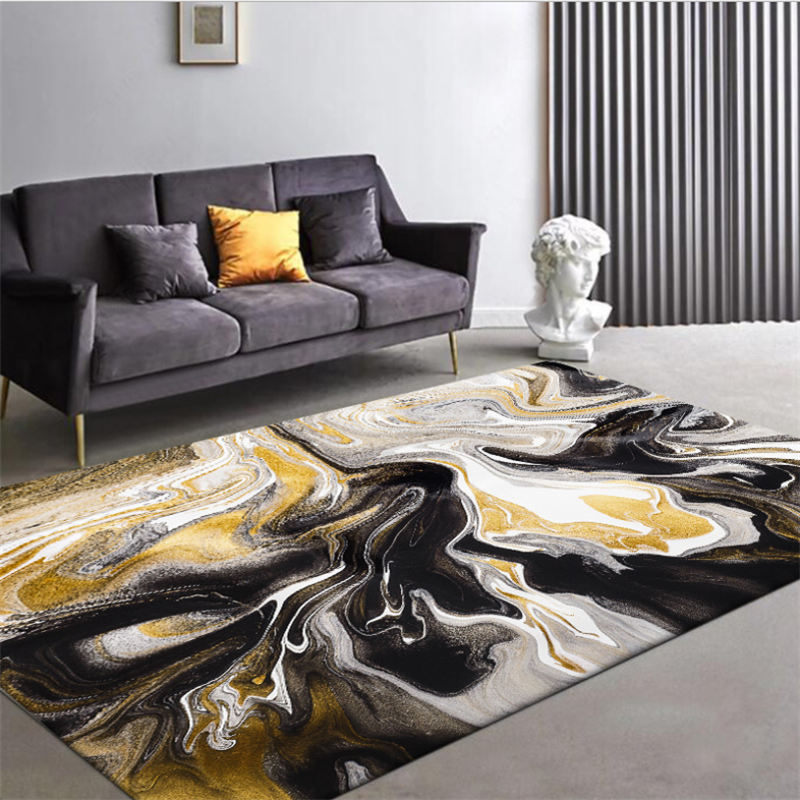 Carpets For Living Room Christmas Rug Abstract Yellow Dark Brown Marble Pattern Carpet Nordic Decoration Home Baby Floor Mat