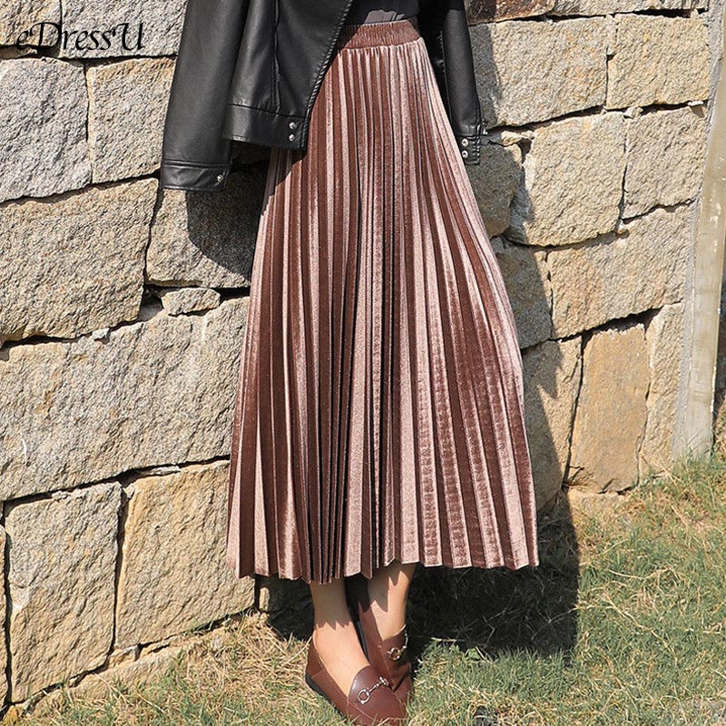 A-line Pleated Skirt Women Velvet Pleat Skirt Vintage Midi Long Skirt Autumn Winter Skirt Casual Daily Bottom Streetwear JSQ-01