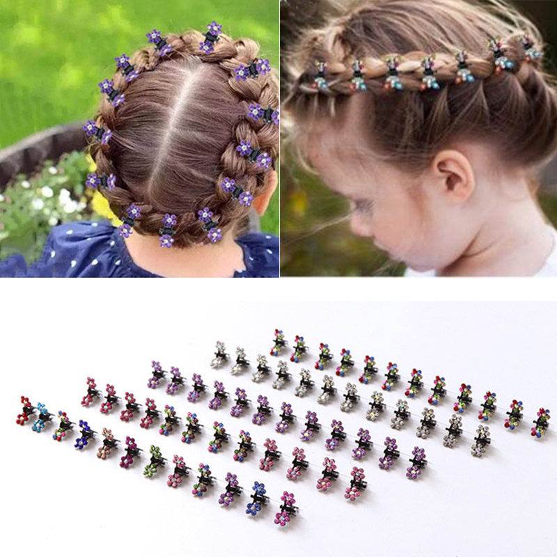 1C76 10pcs Girls Kids Baby Mini Hair Clips Flower Crystal Colorful hairpins