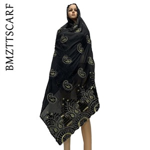 Image 5 - New Arrival African Women Scarf soft cotton embroidery scarfs for shawls ON SALES BM778