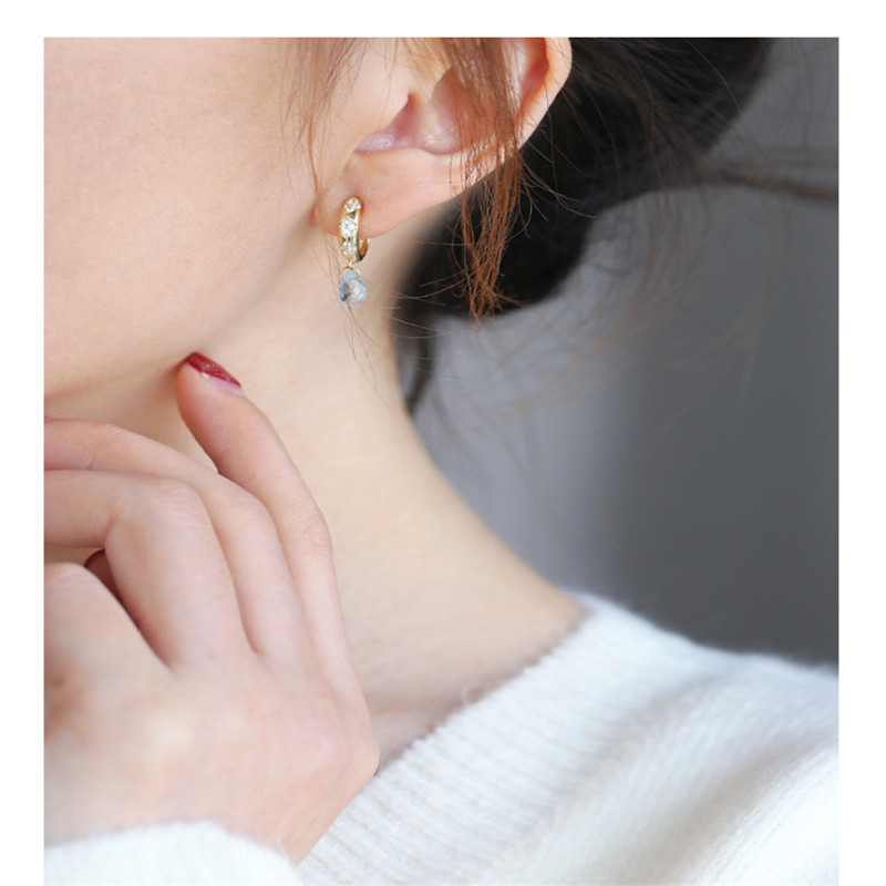 DAIMI Sky blue topaz earrings female  gemstones genuine 925 silver water drop color treasure earrings to send girlfriend
