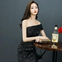 Черное вечернее платье с одним плечом и блестками для девочек; платье для выпускного вечера;