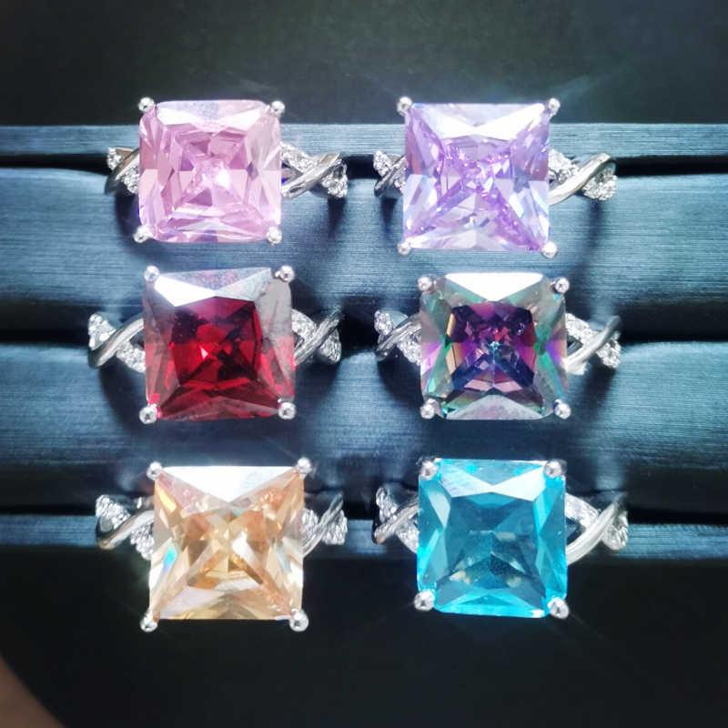 Lingmei סיטונאי אופנה נשים נסיכה ורוד & לבן AAA מעוקב Zirconia כסף טבעת גודל 6 7 8 9 10 מתוק אהבת סגנון תכשיטים