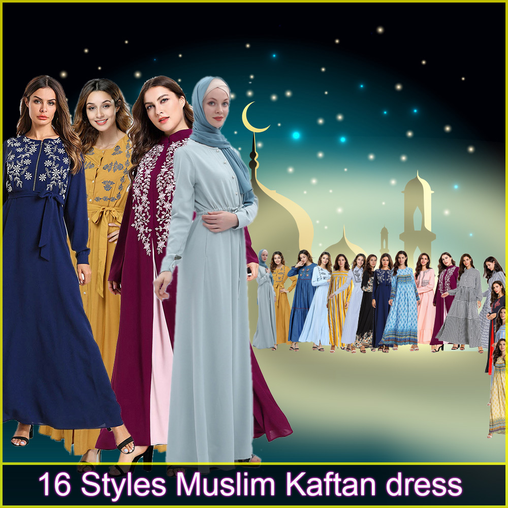 Muslim Women Arabic Turkey Long Maxi Hijab Dress Kaftan Moroccan Modest Indonesia Pakistani Dubai Islamic Abaya Caftan Marocain