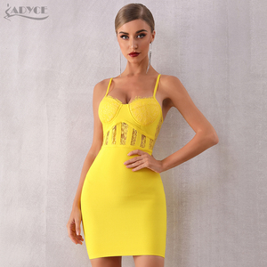 Image 2 - Adyce 2019 뉴 여름 레이스 bodycon 클럽 붕대 드레스 섹시한 민소매 스파게티 스트랩 미니 연예인 이브닝 드레스 드레스 vestido