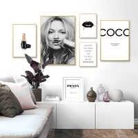 Abstrait moderne mode maquillage toile peinture noir blanc Salon affiches imprime nordique mur Art photos Salon décor à la maison