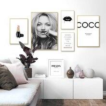 Pintura abstracta moderna en lienzo para maquillaje, pósteres de salón en blanco y negro, impresiones de pared nórdica, imágenes artísticas para decoración del hogar para sala de estar