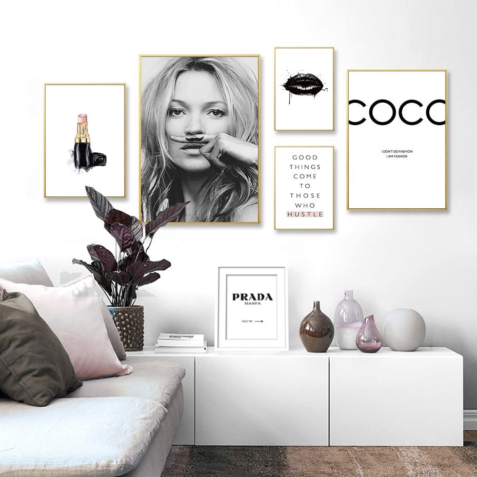 świetna Oferta Streszczenie Nowoczesne Moda Makijaż Obraz Na Płótnie Czarny Biały Salon Plakaty Drukuje Nordic Obrazy Na ścianę Salonu Wystrój Domu