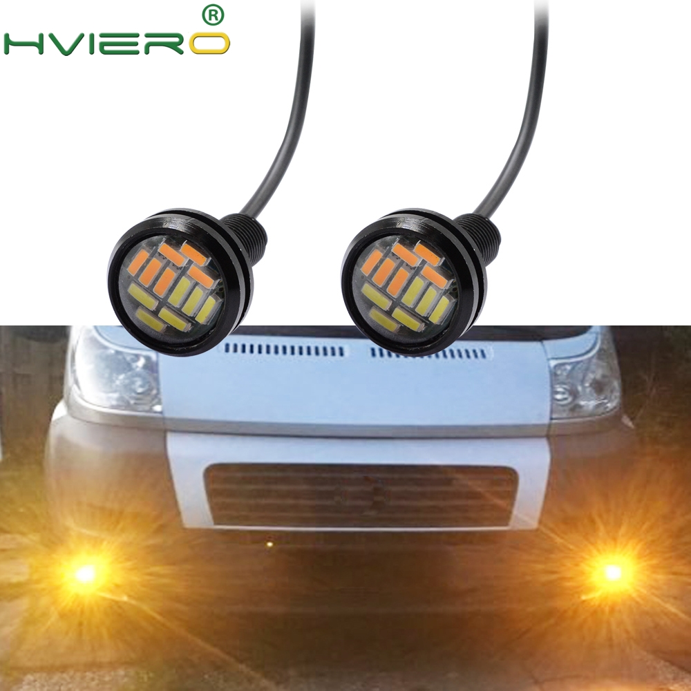 2Pcs Eagle Eye 4014 12 SMD White Amber LED Auto Motocycle Lighting Daytime Running Light Backup Reverse Parking Auto Lamp