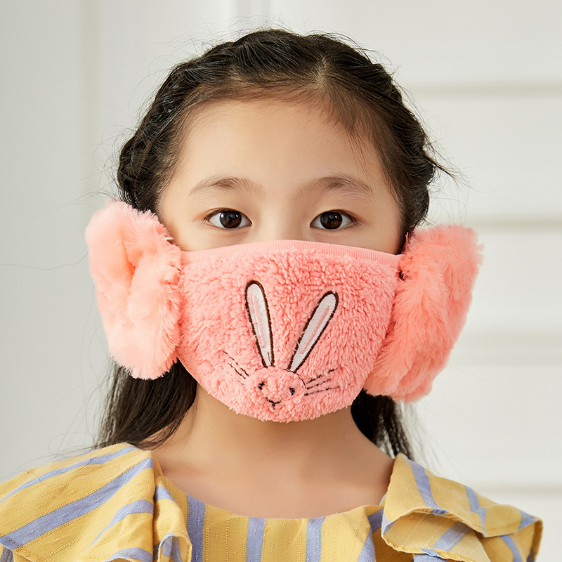 Cute Earmuffs Bunny Embroidery Girl Mask Windproof Cold Protection Masks Riding Equipment Winter New Children's Cartoon