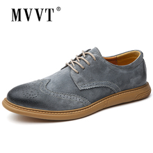 Classic British Casual Men Shoes Brogue Comfortable Suede Leather Loafers Lace Up Flats Hot Sale Moccasins
