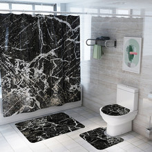 Creative Crack Bathroom set Shower Curtain Floor Mat Pattern 4pcs Waterproof Shower Curtain Toilet Cover Mat Non Slip Rug 108