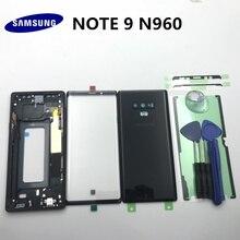 Orijinal tam konut Case arka kapak + ön ekran cam Lens + orta çerçeve Samsung Galaxy not 9 için N960 N960F tüm parça