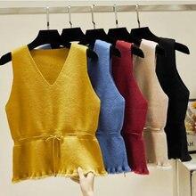 2020 модный свитер жилет женский джемпер с v образным вырезом