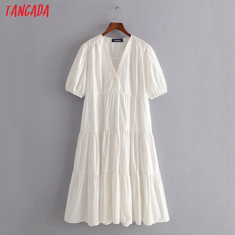 Tangada 2020 Summer Fashion Women Pleated White Cotton Dress Short Sleeve Ladies Vintage Midi Dress Vestidos 3H252