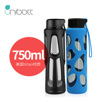 Simple and Fashionable Portable Sport Water Bottle Leakproof Plastic Outdoor Travel Water Cup 750ml Reusable Glass Bottle Gg50sh