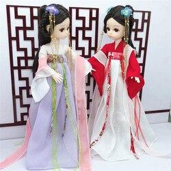 28cm bjd boneca 4d simulação cílios multi-conjunta móveis estilo chinês menina traje roupas boneca vestir-se brinquedo das crianças presente