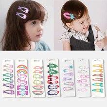 Fashion Print Cute Children Hairpin Girl Princess Cartoon Bb Clip Rainbow Unicorn Fruit Mermaid Shape Colorful Hair Accessories