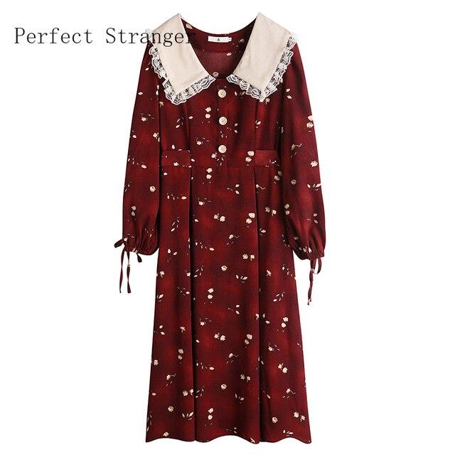 2020 Autumn New Arrival High Quality Retro Peter Pan Collar Flower Printed Women Long Cotton Dress 5