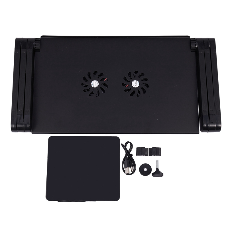 Aluminum Alloy Laptop Table Folding Notebook Desktop Stand With Cooling Fan Bed Laptop Tray Desk Study Desk