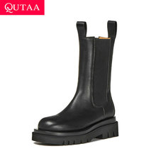 Calf Boots Women Shoes Platform Round Toe QUTAA Autumn Winter Slip-On Mid Casual Size-34-39