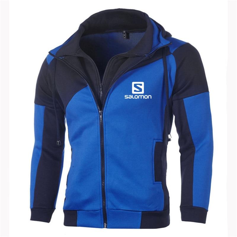 Autumn Winter Fashion Hoody Mens Spliced Double Zipper Pullover Salomon Printed Men Hoodies Casual Coat Pocket Sweatshirts