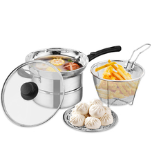 Multifunctional Soup Small frying Steaming Pot Large Stainless Steel Chip Pan with Fryer Basket and Lid 41*21.5*20cm classic country french soup pot with lid