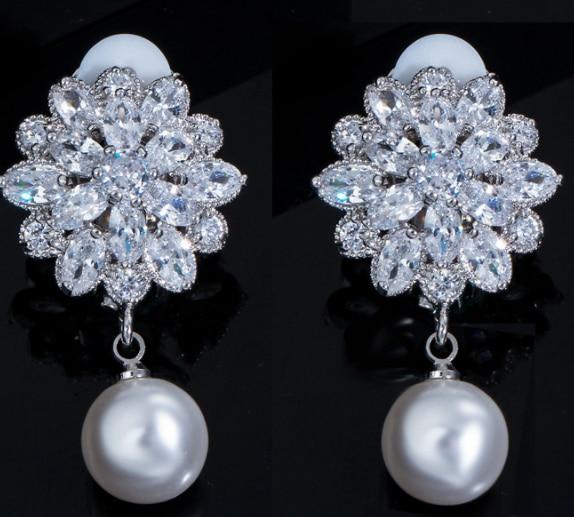 UXN325  Glitter  Earring 925 Sterling Silver Zirconia Stone Female Engagement Jewelry