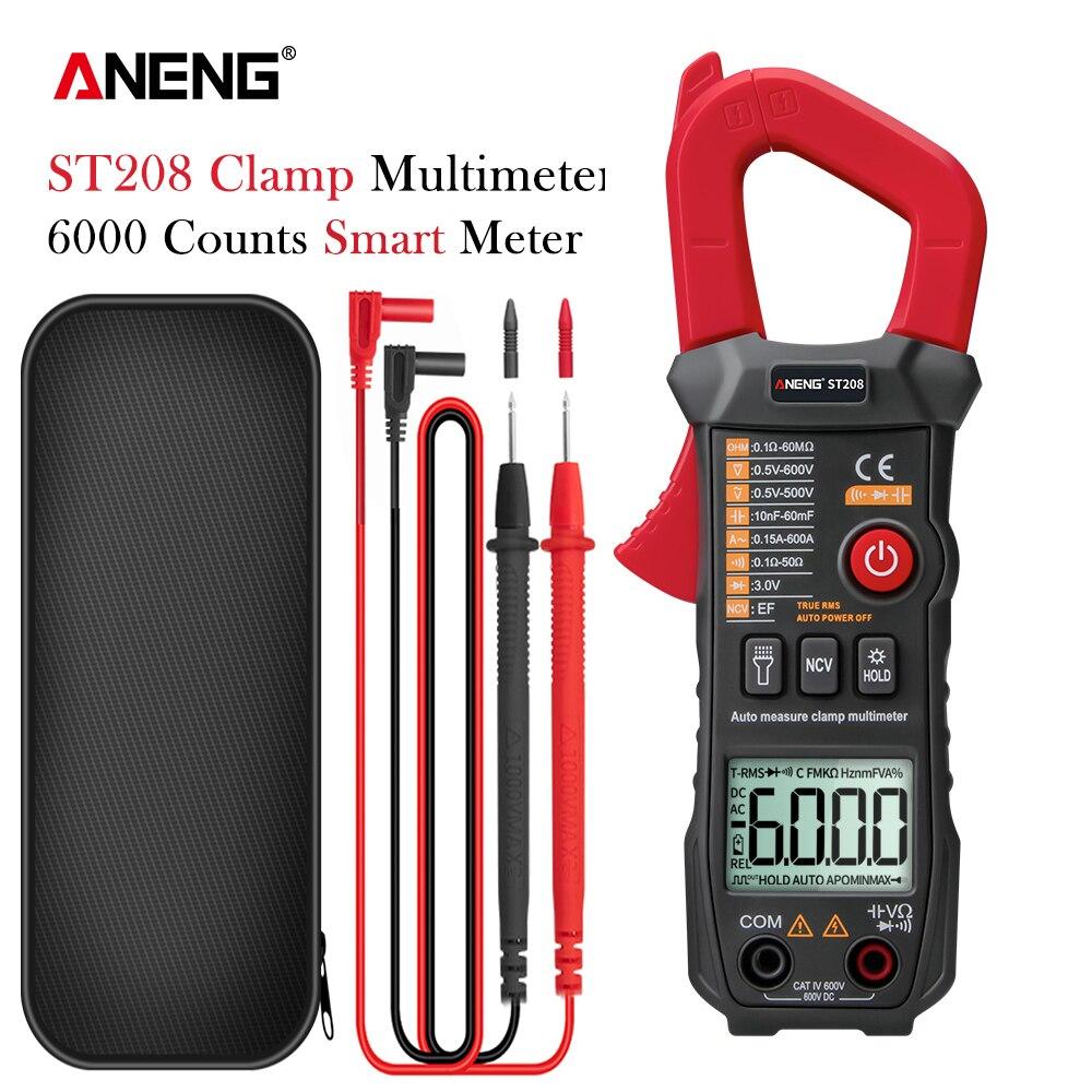 ANENG ST208 Digital Clamp Meter Multimeter Car 6000 counts AC DC Current Measure Transistor Tester Voltimetro Amperimetro