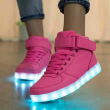 Faionable High Quality Pink High Top Led Luminous Light Up Shoes For Men Women With Different Colors Change top customized led pcba with high quality