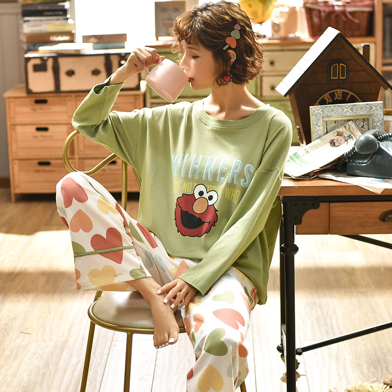 Womens Cotton Pajamas Sets Long Sleeve Suit Animal Cartoon Large Size Girls Sleepwear Women Pijamas Suit Home Clothes Pyjama
