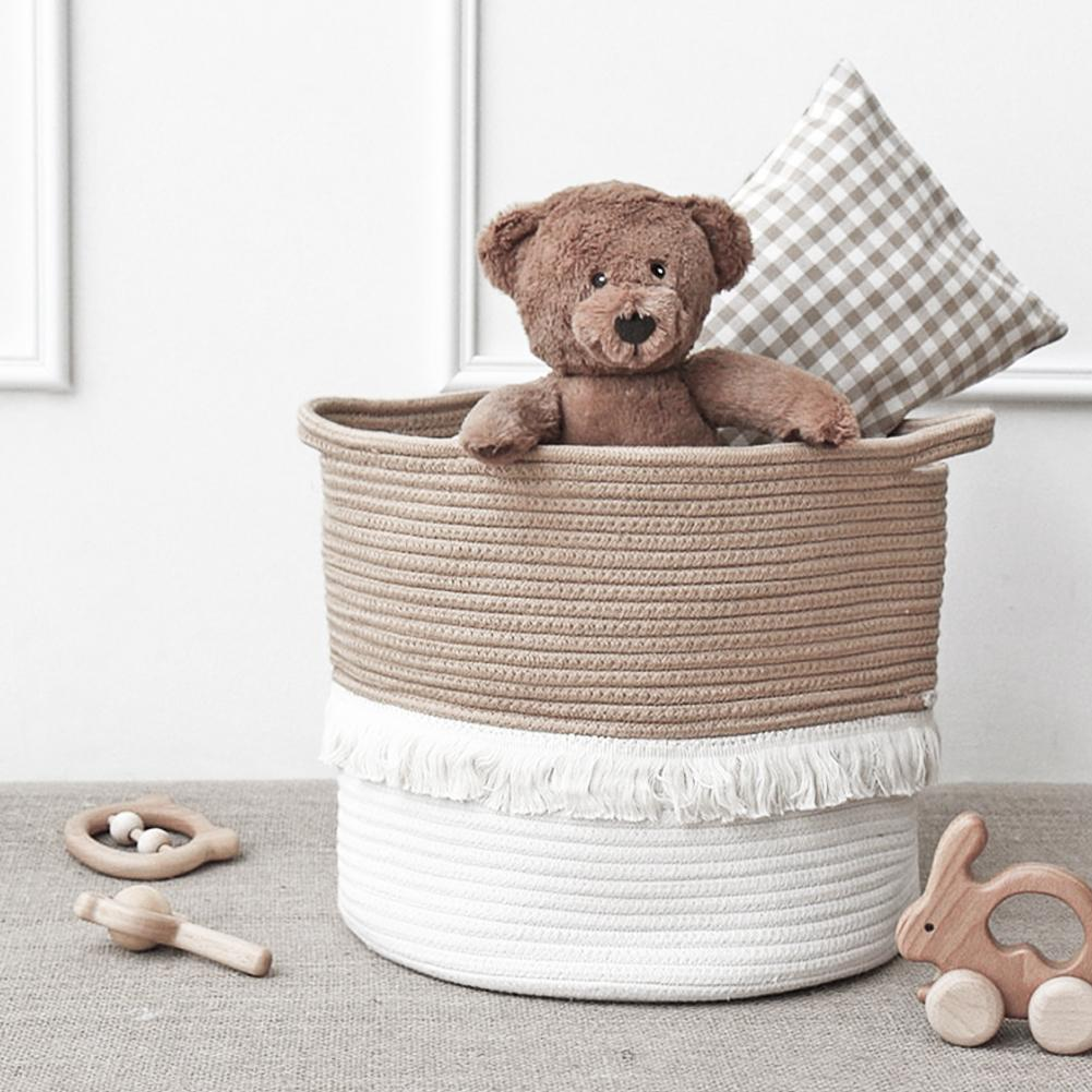 Jute Cotton Woven Storage Basket Storage Box Household Goods Toy Storage Bag Tassel Storage Basket Children's Toy Storage Bag