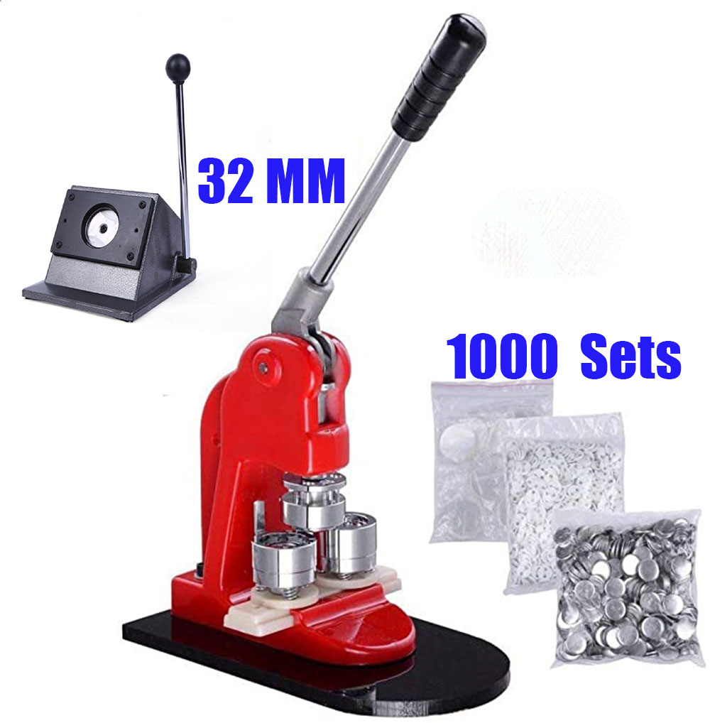 32mm button badge making machine +32mm Badge Circle Cutter + 1000pcs 32mm pin button badge raw material