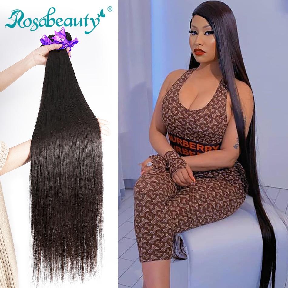 Волосы для наращивания RosaBeauty, 8-28, 30, 40 дюймов, натуральные, волнистые, 1, 3, 4 пучка, прямые, 100% натуральные волосы Remy для наращивания, уток