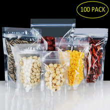 цена на 100pcs PET Transparent Zip Lock Plastic Bags Ziplock Stand Up Food Spice Powder Packaging Pouch Clear Free shipping