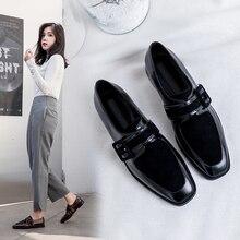 Zapatos Oxford de cuero genuino de ante para mujer, zapatillas de deporte para mujer, zapatos informales Vintage para mujer, calzado de primavera 2020