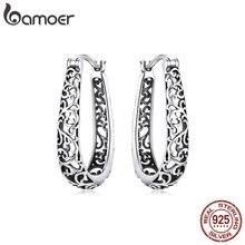 bamoer Silver Vintage Vine Real 925 Sterling Silver Hoop Earrings For Women Party Fine Jewelry 2020 Original Design BSE466