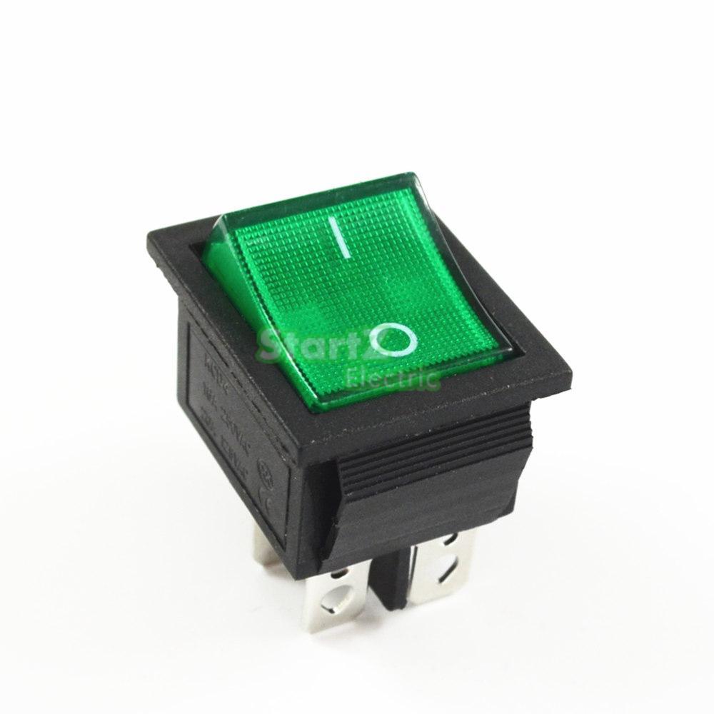 Фиксации кулисный переключатель Мощность переключатель I/O 4 контакта с светильник 16A 250VAC 20A 125VAC KCD4 - Цвет: Зеленый