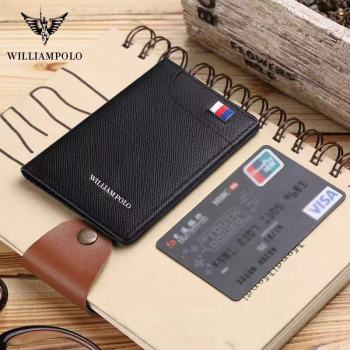 WilliamPolo leather thin luxury brand card clip wallet mens Retro short Wallet