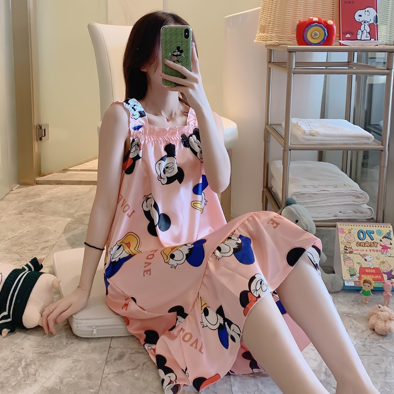 2020 Summer Night Dress Women Nightgown Cute Loose Mickey Print Spaghetti Strap Sleeveless Nightie Nightdress Sexy Sleepwear