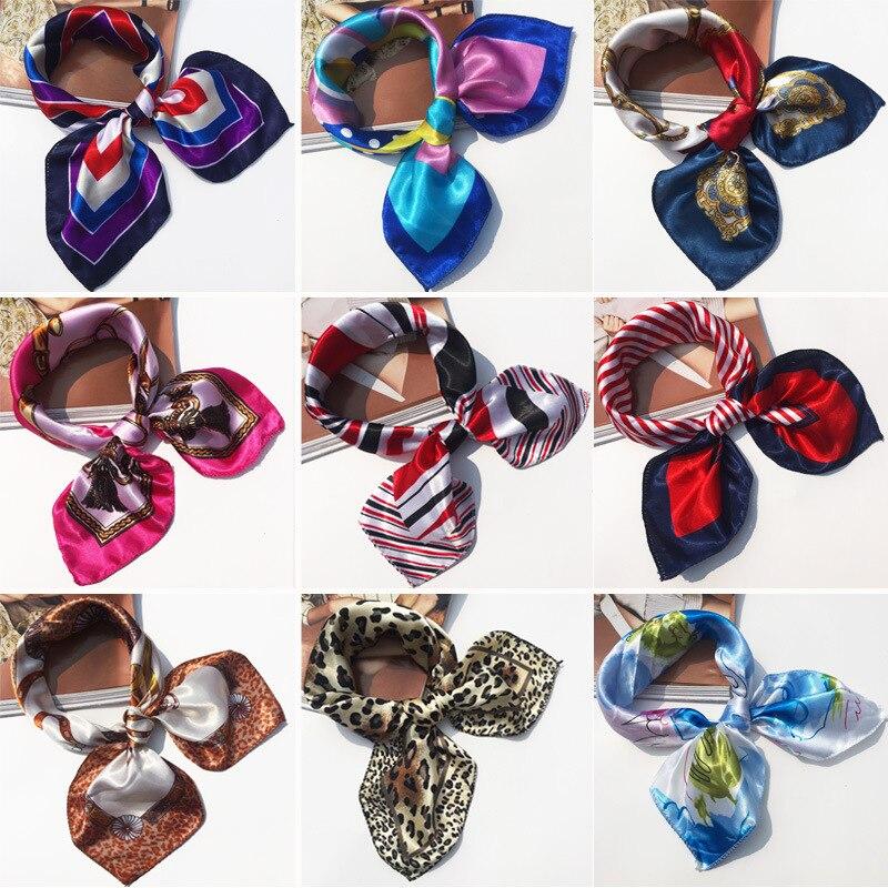 50*50CM High Quality Silk   Scarf   Women Small Soft Squares Decorative Head   Scarf   Multicolor Stripe Print Kerchief Neck   Wrap